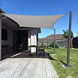 Dripex Sonnensegel Sonnenschutz Set inkl Befestigungsseile Rechteckig Wasserabweisend Polyester Imprägniert 95% UV Schutz Windschutz Wetterschutz 5X7 m für Balkon Garten Terrasse Grau