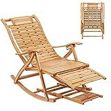 UKMASTER Liegestuhl Verstellbar Sonnenstuhl, Bambus Sonneliege, Klappbar Schaukelstuhl, mit Arm- und Fußstütze Fußmassage