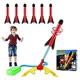 EXTSUD Rakete Spielzeug,Windspiration Rakete,Stomp Air Rocket mit 6 Schaumstoff Raketen,Druckluftrakete Raketenwerfer Raketenspiel für Outdoorspiele Gartenspiele Kinder Geschenk ab 3 Jahre