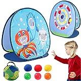vamei 1 Stück Wurfspiele für Draußen Wurfspiel Kinder Ballspiele für Draußen Gartenspiele Klettballspiel Garten Spielzeug Hai Spielzeug Dartscheibe Wurfscheibe Beanbag Toss Zielscheibe