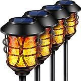 Puaida Solarleuchten Garten Metall Fackel, 99 LED Solarlampen für Außen mit Automatische Ein/Aus (Licht Sensor), IP65 Wasserdicht realistische Flammeneffekt Solar Fackeln Garten Deko (4 pack)