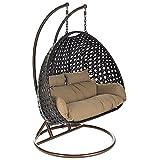 Home Deluxe - Polyrattan Hängesessel - Twin braun - inkl. Gestell, Sitz- und Rückenkissen   Hängestuhl Gartenschaukel Hängekorb