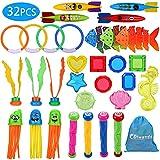 Colmanda Tauchspielzeug, 32 Stück Badespielzeug Set Badewannenspielzeug Tauchspielzeug Pool Spielzeug Tauchen Spielzeug Unterwasser Schwimmbad Spielzeug für Kinder Jungs Mädchen Geschenkset