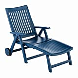 Kettler Roma Advantage Gartenliege – klappbare Sonnenliege für Garten, Terrasse und Balkon – Rückenlehne mehrstufig verstellbar – wetterfeste Rollliege aus beständigem Kunststoff – blau