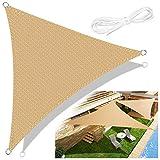 Emooqi Sonnensegel, Sonnensegel Dreieck 3x3x3 Inkl Befestigungsseile, Hdpe Sonnensegel Terrasse Für Uv Schutz, Permeable Canopy für Terrasse, Balkon und Garten -Sandbeige