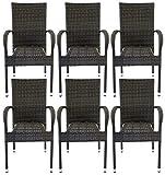Avanti Trendstore - Agordo - Stapelbarer Stuhl aus Polyrattan, witterungsbeständig und robust. Ideal für den Garten oder Terrasse.Maße: BHT 56x94,5x62 cm (6er Set)