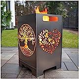 tuning-art FK01 Feuerkorb Feuertonne Feuerschale Steckbar Groß 50x30x30, Größe:Herz 45L