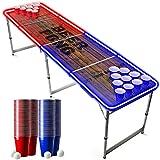 Offizieller Light Beer Pong Tisch Set   Mit LED Beleuchtung   LED Beer Pong Full Pack   Inkl. 1 Beer Pong Tisch + 120 Becher 53cl (60 Rot & 60 Blau) + 6 Ping-Pong-Bälle   Premium Qualität