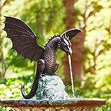 Gartenfigur Garten-Drache Wasserspeier, Wasserspray Drachen Harz Wasserlandschaft Skulptur, Wasserspeier Figur Drache Garten Deko, Wassergarten Deko Teichfigur (A)