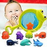 Euyecety Badewannenspielzeug Spielzeug ab 1 Jahr, Badespielzeug Wasserspielzeug Kinder, 10 Stück Spielzeug Badewanne mit Netzbeutel, Geschenk für 1 2 3 4 Jahre Jungen Mädchen (BPA Frei)