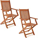 Deuba 2er Set Gartenstuhl Sydney FSC®-zertifiziertes Akazienholz klappbar Klappstuhl Hochlehner Garten Klappsessel