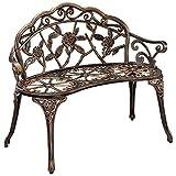 casa.pro Gartenbank Bronze Gusseisen - Wetterfester 2-Sitzer rund aus Metall im Antik-Design - Parkbank/Sitzbank/Eisenbank im Landhausstil