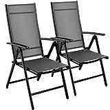 MVPower 2er Set Premium Gartenstühle Klappstuhl Grillstuhl aus Aluminium, 7-Fach verstellbare Rückenlehnen, Wetterfest, Grau Schwarz