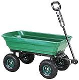 Miweba Bollerwagen Dumper Kippwagen Handwagen – 300 Kg - Kippfunktion - Lenkachse - Luftreifen - Schubkarre – Gartenkarre – Gartenwagen - Transportwagen (Grün)
