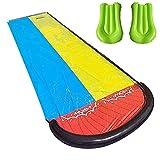 YJYQ Wasserrutsche, 480 x 140cm Wasserrutsche Rutschmatte mit 2 Bodyboards Wasserrutschbahn Rutsche Wassermatte Outdoor Wasserspielzeug für Garten Rasen und Kinder