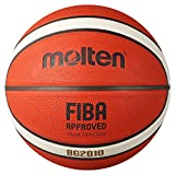 Molten BG2010 Basketball, Indoor/Outdoor, FIBA zugelassen, Premium Gummi, tiefer Kanal, Größe 7, orange/Elfenbein, geeignet für Jungen ab 14 Jahren & Erwachsene