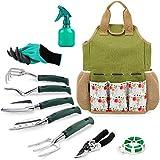 INNO STAGE Gartengeräte-Set und Organizer-Einkaufstasche mit 10-teiligen Gartengeräten, bestes Garten-Geschenkset, Gemüsegarten-Handwerkzeug-Kit-Tasche mit Gartengrabklaue Gartenhandschuhe-Rose