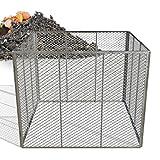 Heimfleiss® Metallkomposter 100x100x80 cm | engmaschiger & feuerverzinkter Kompostierer mit 800 Liter Volumen | Komposter Metall mit simplem Stecksystem | robuster Bio Gartenkomposter aus Streckmetall