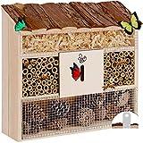 KESSER® Insektenhotel aus Holz mit Pultdach - Naturbelassenes Insekten Hotel für Fluginsekten - für Bienen Marienkäfer Schmetterlinge Fliegen Insektenhaus Nistkasten Brutkasten Hotel - Zum Aufhängen