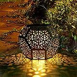 LED Solar Laterne Aussen GolWof Solarlaterne für Außen Solarleuchte Garten Hängend Outdoor Deko Solarlampen für Außen Wasserdichte Solar Licht Garten Rautenform für Terrasse Pathway - Silber