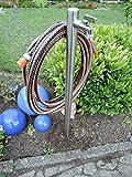 Wasserzapfstelle Edelstahl Wasserzapfsäule Wasserverteiler mit Schlauchhalter 1m WS6010SH