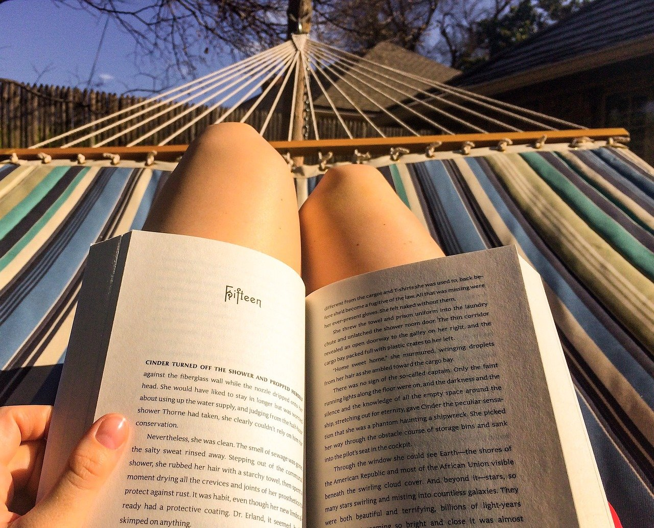 reading, hammock, relax